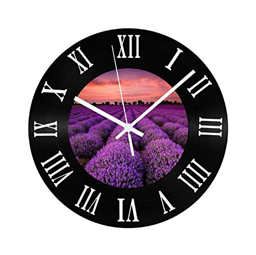 kyman Creativo 3D Reloj de Vinilo Lavanda Reloj de Pared silencioso Números Romanos Sala de Estar Decoración Reloj Regalo-30x30cm