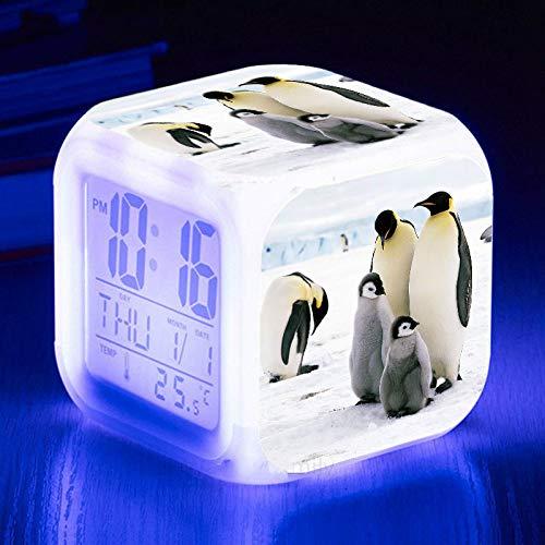 Wecklichter USB Cute Penguin Wecker 7 Farbe Leuchtende LED Stimmungslampe Digitaler Wecker Kinderzimmer Nachtlicht Elektronische UhrenB.