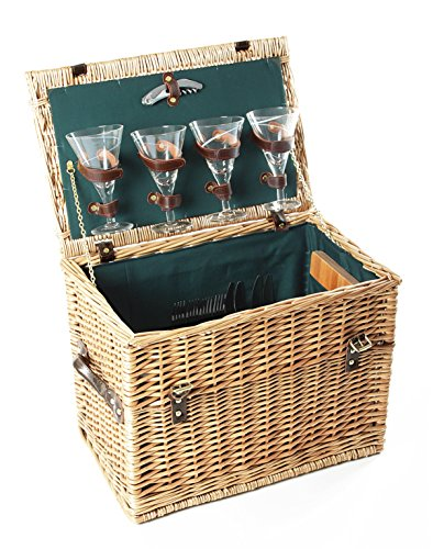 Greenfield Collection (GG022) Deluxe Amersham Picknickkorb für 4 Personen, Weide, Futter in Royal Grün