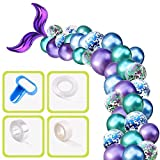 YiRAN Meerjungfrau Ballon Girlande Ballonbogen Kit 5m Lange 46Stück metallisch Blau Lila Grün und Konfetti Luftballons Set mit Meerjungfrau Schwanz für Mädchen Kinder Geburtstag Party Hintergrund Deko