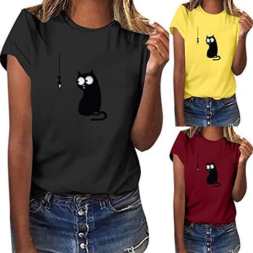 Casual Sommer Tshirt Damen Rundhals Oberteile mit Katze Muster Classic Tunika Bluse Kurzarm Dünn Shirts Tops Geschenke für Frauen