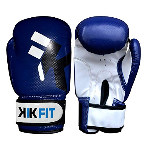 KIK PASSFORM Blau Kinder Boxhandschuhe Junior Boxsack Leder Handschuhe ,Kinder Kampftraining - Blau, 6oz