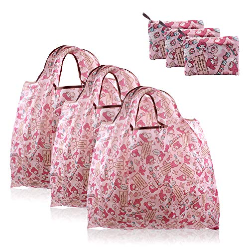 Finex 3 Pcs Set My Melody Foldable Reusable Tote Recycle Shopping Bag - Lightweight Portable Large Capacity