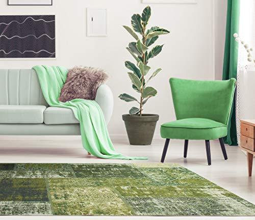 Flycarpets - Burano Patchwork - Indoor Teppich - rechteckig - Vintage - Kurzflor 10 mm - in Größe 120x170 - in Grün - Patchwork - türkisch gewebt