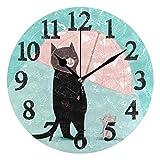 Zseeda Lindo Gato Negro con Paraguas Relojes de Pared Funciona con Pilas Reloj de Pared Redondo Decorativo para el hogar 9.4...