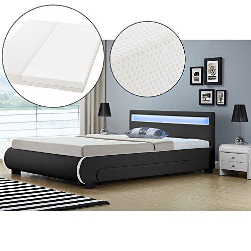 ArtLife Polsterbett Bilbao 140 x 200 cm mit Kaltschaum-Matratze – Einzelbett inkl. Bettkästen, LED Beleuchtung & Lattenrost – Kunstleder Bett – schwarz