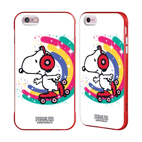 Head Case Designs Ufficiale Peanuts Skating Colorato Snoopy Passeggiata Aerografata Cover Fender Rossa Compatibile con Apple iPhone 6 Plus/iPhone 6s Plus