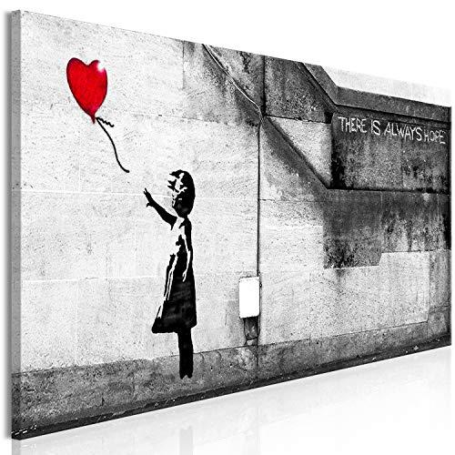 murando Quadro Banksy Ragazza con palloncino 120x40 cm 1 pezzo Stampa su tela in TNT XXL Immagini moderni Murale Fotografia Grafica Decorazione da parete There is Always Hope d-B-0292-b-b