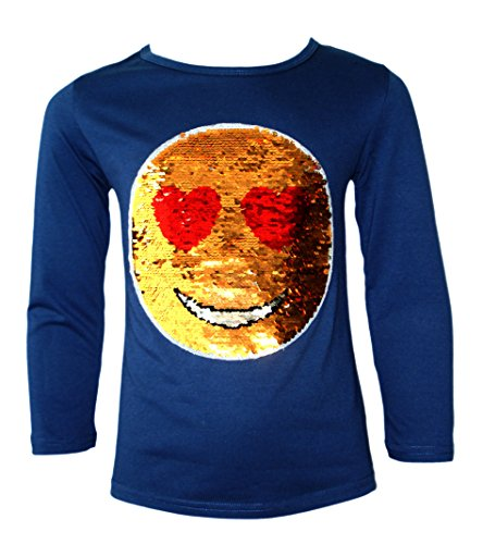 KIDS EMOJI EMOTICON SMILEY FACE TOPS TEE TOP BRUSH CHANGING SEQUIN NEW AGE,11-12 Years,Navy