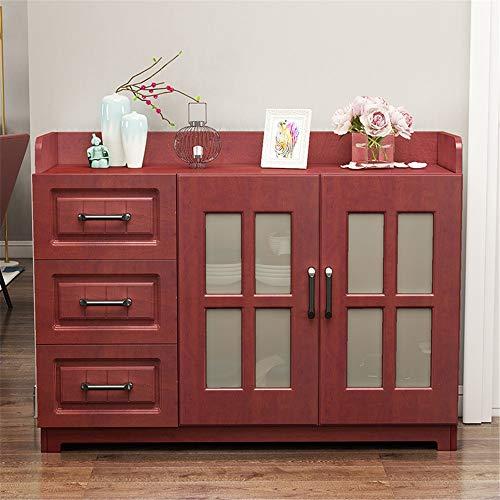 JTRHD Armario aparador Buffet Restaurante Aparador Consola Mesa de Madera Mesa de gabinete con gabinete 3 Caja de cajones para Comedor, Sala de Estar (Color : Rojo, Size : 120x40x80cm)