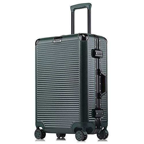 HX~luggageMaleta con Ruedas de Negocios, Elegante y Minimalista Tejido Trenzado Color sólido Marco de Aluminio Maleta de Viaje para Hombres y Mujeres,C,48.5 * 27 * 72cm