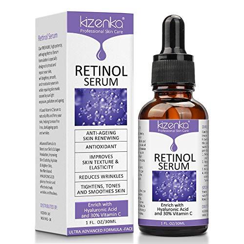 kizenka Siero di retinolo con acido ialuronico e vitamina C, siero viso antirughe antirughe, formulato per ridurre le rughe, sbiadire le macchie scure e trattare sotto, 30 ml