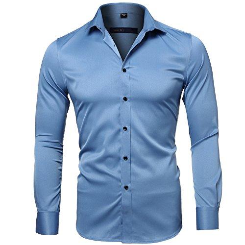 Harrms Camicia Elastica di bambù Fibra per Uomo, Slim Fit, Camicie da Cerimonia Manica Lunga, Blu Acqua, 39 (Collo 39CM, Petto 100CM)