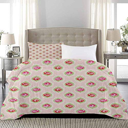 UNOSEKS LANZON Bedspread Coverlet Set Roses Damask Pattern Botanical Delicate Antique Old Fashioned Style Dotted Duvet Quilt Comforter Cover Great for Snuggle with At Night Multicolor, Full Size