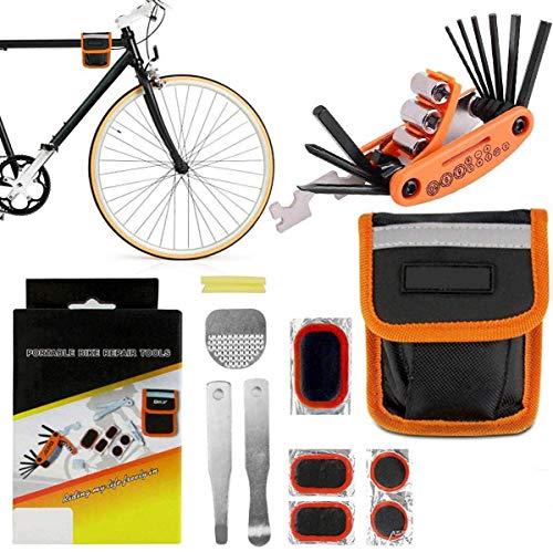 DN DENNOV Fahrrad Multitool, 16-in-1 Fahrrad Reparatur Werkzeug Set, Fahrradwerkzeug für Unterwegs, Multifunktionswerkzeug mit Flickzeug und Tasche für Mountainbikes und Rennräder