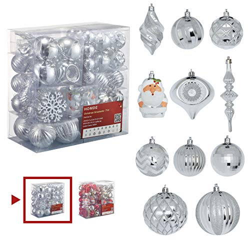 Homde Christmas Balls Ornaments 77ct Includes Santa Claus Snowflakes for Xmas Tree Shatterproof Christmas Tree Decorations with Hanging Rope (Silver)