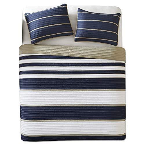 Comfort Spaces - Verone Mini Quilt Coverlet Set - 3 Piece - Navy, White, Khaki - Stripes Pattern - Full/Queen Size, Includes 1 Quilt, 2 Shams