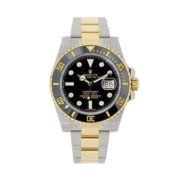Fashion Shopping Rolex Submariner Stainless Steel Yellow Gold Watch Diamond Dial 116613