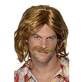 SMIFFYS Smiffy's Baffi e parrucca da attore super anni '70, marroni, media lunghezza Uomo, 42005