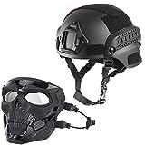 WLXW Casco Táctico Mich 2000 Y Máscara Protectora de Cráneo, Se...