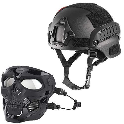 WLXW Casco Táctico Mich 2000 Y Máscara Protectora de Cráneo, Se Puede Enmascarar, Se Puede Conectar Al Casco, Dos Modos, Juego De Guerra con Pistola de Aire Paintball CS,Black