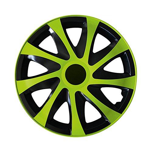 Eight Tec Handelsagentur @@ (Farbe & Größe wählbar) 14 Zoll Radkappen, Radzierblenden Draco Bicolor (Schwarz/Grün) passend für Fast alle Fahrzeugtypen (universal)