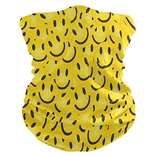 Écharpe Tubulaire, Anti Droplet UV Protection Smile Face Pattern Clothing Neck Gaiter Scarf Sunscreen Breathable Bandana
