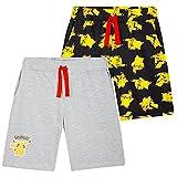 Pokemon Short Enfant, Lot De 2 Shorts en Coton Motif Pikachu, Idée De Cadeau pour Enfant Ou Ado Garcon Gamer De 4 À 14 Ans (Noir/Gris, 9-10 Ans)