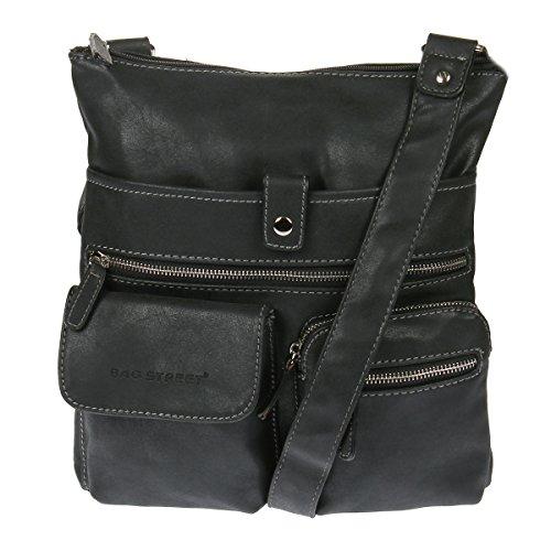 3426 Schultertasche Handtasche Umhängetasche Shopper Tasche Bag Street mit gratis Kossberg Anhänger (Schwarz)