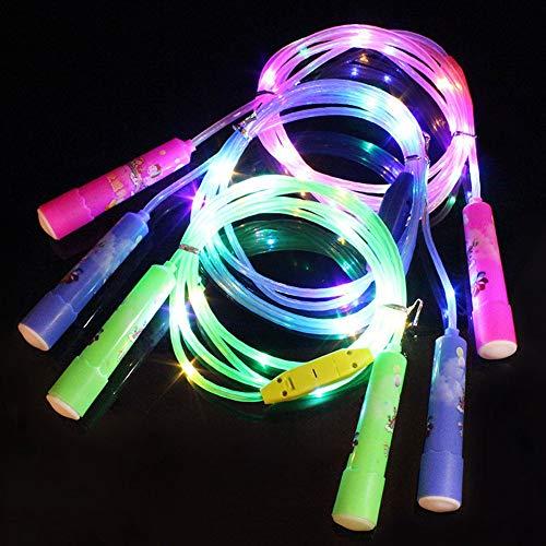 Hetangyuese 2 leuchtende LED-Springseile mit verstellbarer Länge und drei Leuchtmodi, geeignet für Kinder, Licht-Show, Fitness-Springseil