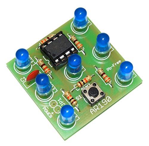 ArliKits AR190/B Elektronischer Würfel mit 7 blauen blinkenden Leuchtdioden Riesenspaß elektrischer Würfelersatz einfacher Löt-Bausatz