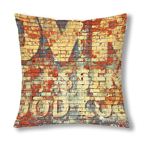 QUEMIN Funny an Old Grunge Red Brick Wall with Painted Letters Decorative Cushion Pillow Case Cover, Decor Square Zippered Pillowcase Protector 18x18 Inch