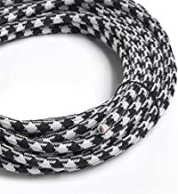 Black and White Houndstooth Cotton Covered Cord - 25' Feet/18 gauge 2 wire Lamp or Speaker wire