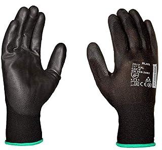 scheda guanti da lavoro (12 paia) - guanti di montaggio antiscivolo senza cuciture - comodi da indossare, ideali per riparazioni, industria automobilistica, finissaggio, assistenza auto, officina (11, nero)