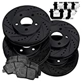 Fit 2010-2015 Chevrolet Camaro Black Full Kit Brake Rotors Kit+Ceramic Pads
