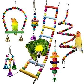 Lot de 6 Jouets pour Oiseau pour Perroquet, Oiseaux Jouet à Mâcher Balançoires Jouets Suspendus à Jouet Pont Échelles, Jouet Suspendu Cloches pour perroquets, perruches, Oiseaux inséparables