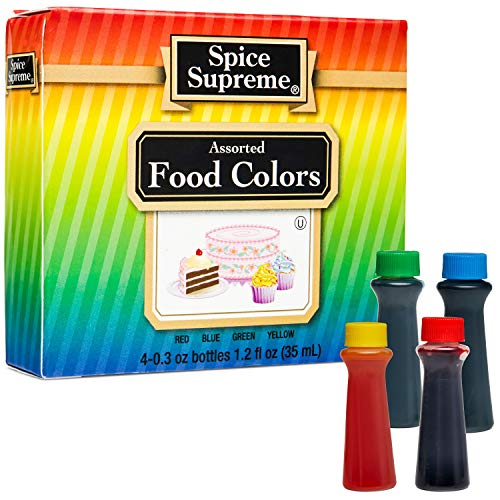 Spice Supreme Assorted Food Colors Red Blue Green Yellow (Pack of 6 Variety Kits)- 4 Color Cake Liquid for Baking, Decorating ,Fondant , Cooking, and Slime Making - .30 fl. oz.Bottles