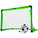 Franklin Sports Kids Mini Soccer Goal Set - Backyard/Indoor Mini Net and Ball Set with Pump - Portable Folding Youth Soccer Goal Set - Neon Green - 36' x 24' (60156)