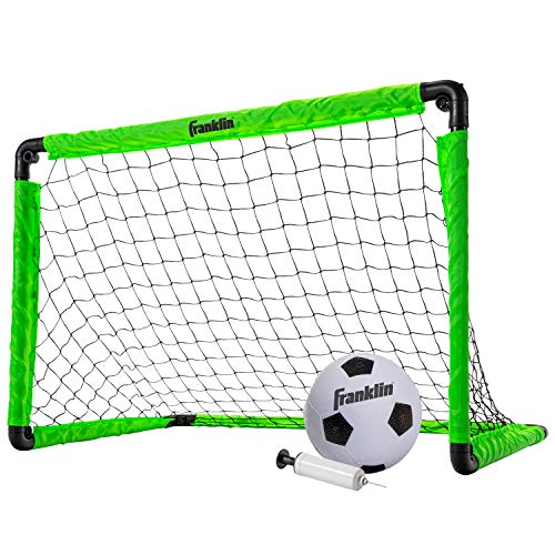 Franklin Sports Kids Mini Soccer Goal Set - Backyard/Indoor Mini Net and Ball Set with Pump - Portable Folding Youth Soccer Goal Set - Neon Green - 36, Best Gifts For Soccer Players