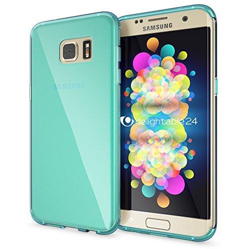 NALIA Custodia compatibile con Samsung Galaxy S7 Edge, Cover Protezione Ultra-Slim Case Resistente Protettiva Cellulare in Silicone Gel, Morbido Phone Bumper Copertura Sottile - Trasparente Turchese