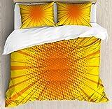 XOXUN Juego de Funda nórdica Vintage Amarilla, Sun Burst con Efecto de semitono Estilo cómic y diseño de Arte Pop, Juego de Cama Decorativo de 3 Piezas con 2 Fundas de Almohada, Naranja Amarillo