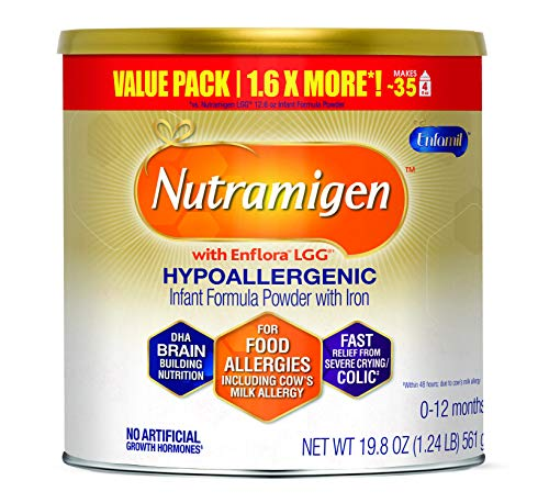 Enfamil Nutramigen Hypoallergenic Colic Baby Formula Lactose Free Milk Powder, 19.8 Ounce - Omega 3 DHA, LGG Probiotics, Iron, Immune Support