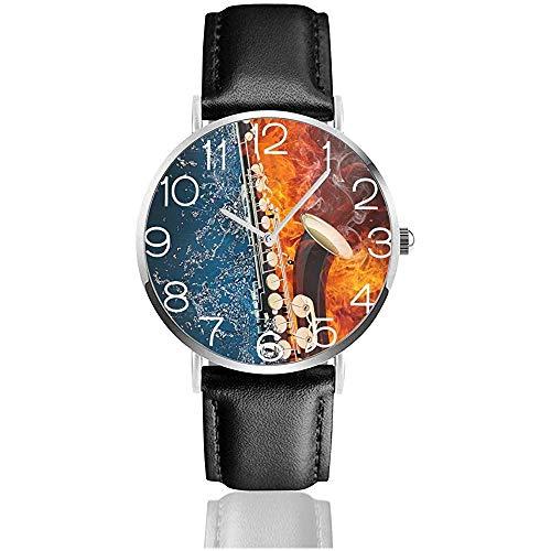 Armbanduhr Wasser und Feuer Saxophon Classic Casual Quarzuhr Business-Uhren