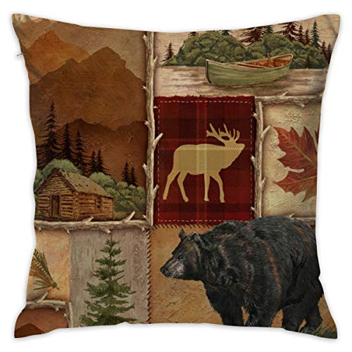 CCGGJPYI Lodge Collage Laural Home Decorative Throw Pillow Case Cushion Cover 18