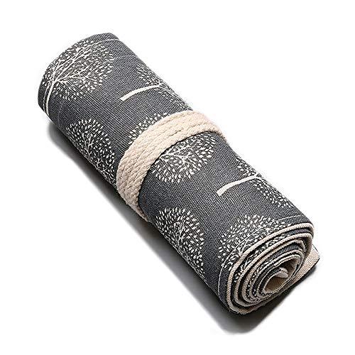 KOGLEE(コグリー)ペンケース 綺麗な柄 鉛筆 色鉛筆 布製ロールケース入り 収納バッグ 収納ケース 鉛筆ホルダー、鉛筆先端部分に保護可能、巻き型の設計でくるくると巻いてまとめてコンパクトに持ち運びに楽々です、鉛筆が含まない (ツリー, 24スロット)