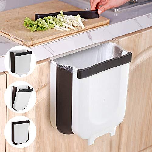 Gindoly Cubos de Basura Colgante para la Cocina, Basura Plegable Extraible para Dormitorio y baño, Cubo de Almacenamiento para Coche, Ahorro de Espacio y Gran Capacidad, 9L Blanco