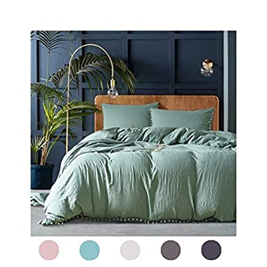 3 Pieces Dark Green Bedding Green Duvet Cover Set Ball Fringe Pattern Design Soft Solid Dark Sea Green Bedding Sets Queen One Duvet Cover Two Ball Fringe Pillow Shams (Queen, Dark Sea Green)