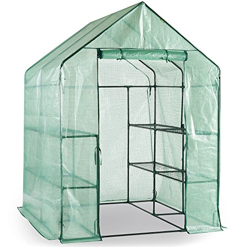 VonHaus Walk In Greenhouse with 8 Shelves, Roll Up Zip Panel Door, Re-enforced Cover, Easy No Tool Assembly