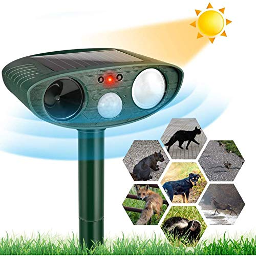 Animal Repeller, Ultrasonic Cat Repellent, Solar Waterproof Animal Repeller Outdoor, Upgraded Cat Dog Scarer Repellant with Motion Sensor and Ultrasonic Flashing Lights, for Cats, Dogs, Wild Animals