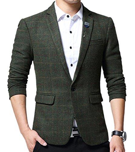 SZAWSL Herren Modisch Slim Fit Tweed Sakko Anzüge Kariert Design Hochzeit Party Jacke (Grün, Medium)
